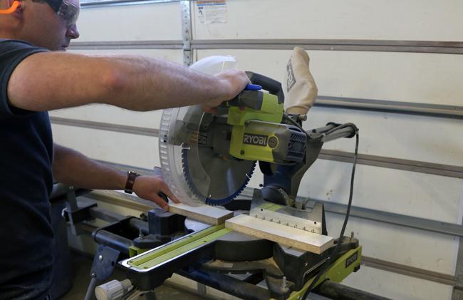 cutting melamine with a miter saw