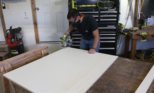 how to cut melamine for concrete counters circular saw