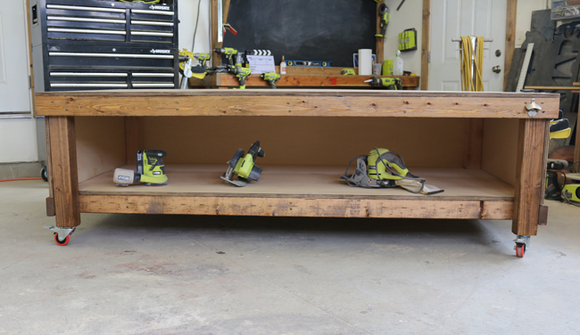 how to make a workbench with a shelf
