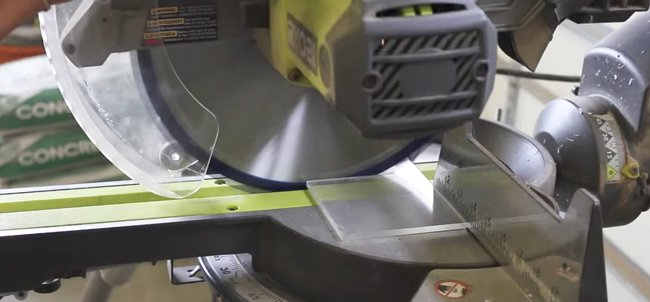 Cutting the acrylic with the Mitre saw