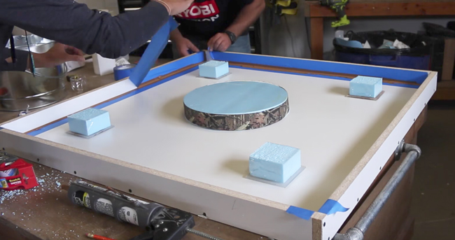 Foam Cut and Glued to Layout & Removing Tape